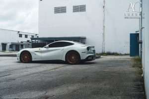 ferrari f12 berlinetta forged wheels matte brushed bronze rim rims 21 22 22x9.5 22x12.5 agl40 duo dual block