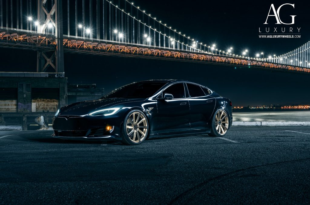 tesla model s p90d custom forged wheel wheels rim rims monoblock agl17 brushed champagne gloss black accents
