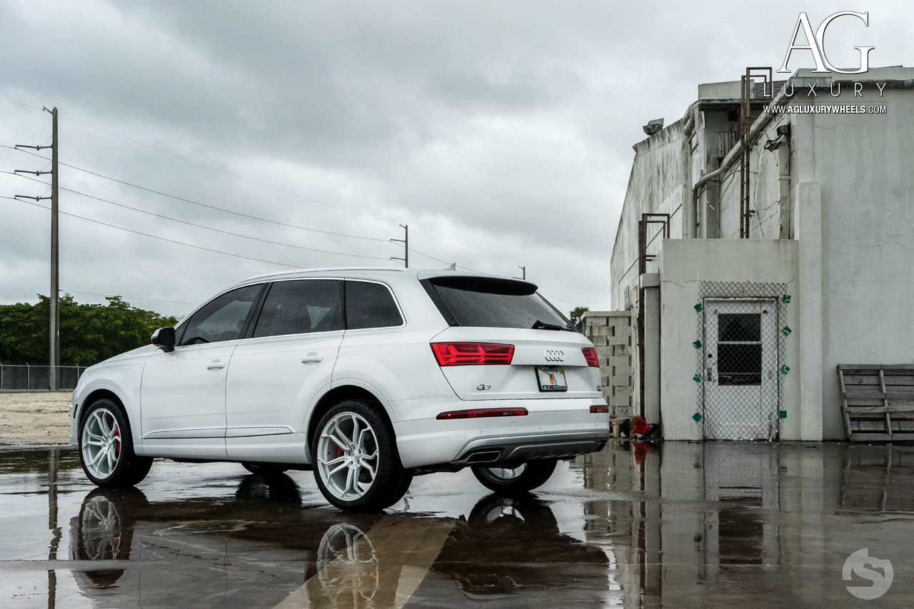 white audi q7 concave forged wheels air suspension split five spoke