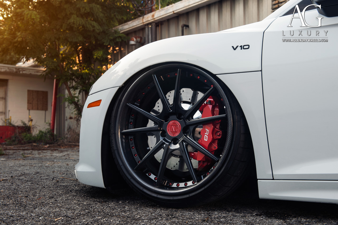 white audi r8 forged wheels air suspension staggered