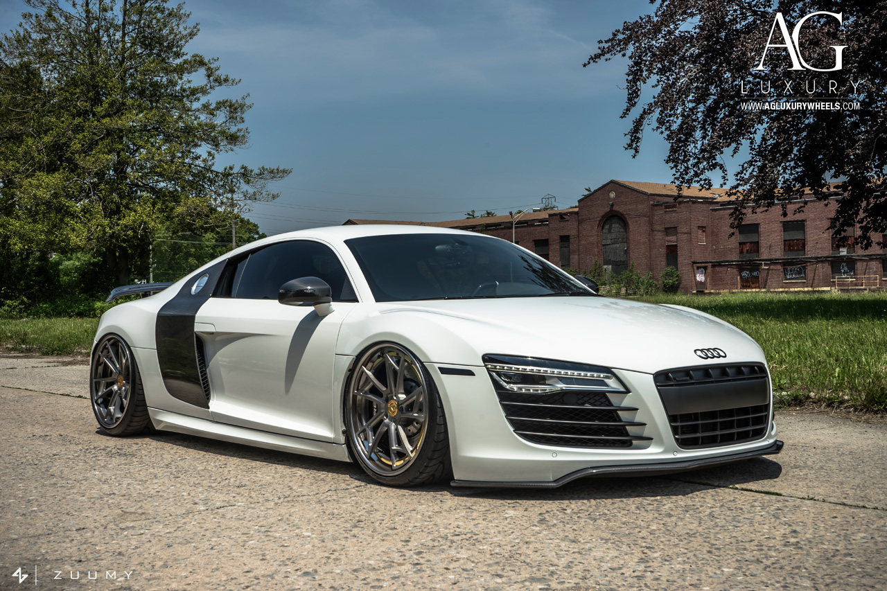white audi r8 forged wheels air suspension directional staggered
