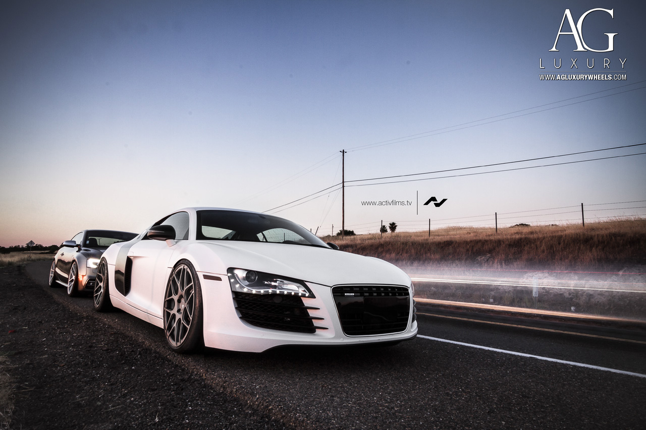 white audi r8 forged monoblock concave staggered wheels gunmetal mesh