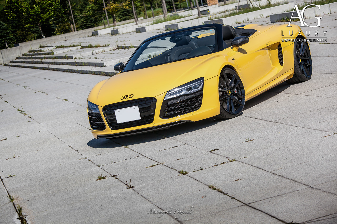 yellow audi r8 forged monoblock gloss black concave staggered wheels