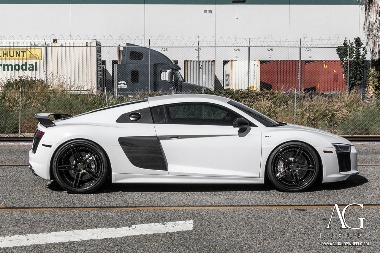 audi r8 v10 plus agluxury wheels agl15 spec3 carbon fiber lip polished smoke mirror lip supremepower three piece 20inch 20s 20 concave custom forged