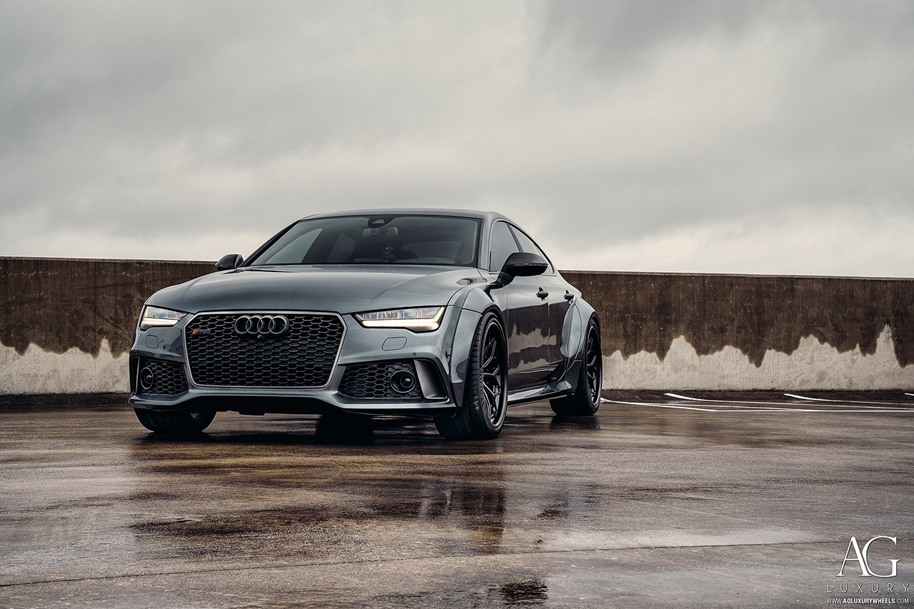 audi rs7 s7 a7 agluxury wheels agl61 spec 3 gloss black full illusion royal hardware concave mesh forged bespoke rims