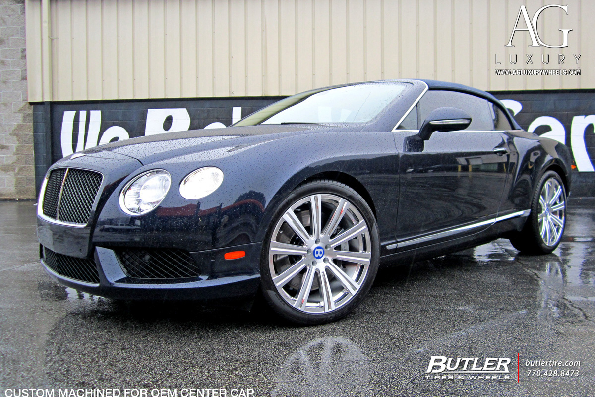 blue bentley continental gt forged concave wheels staggered brushed polished monoblock