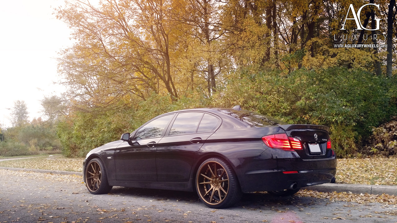 black bmw f10 535i forged concave wheels staggered