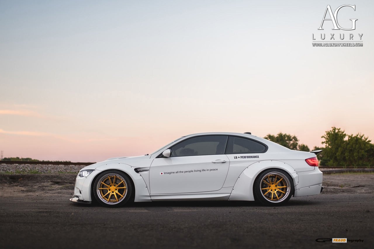 white bmw m3 19 inch forged concave staggered gold wheels liberty walk wide body kit