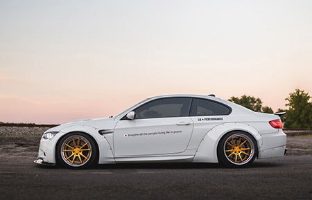 bmw liberty walk m3 forged concave staggered gold wheels wide body kit