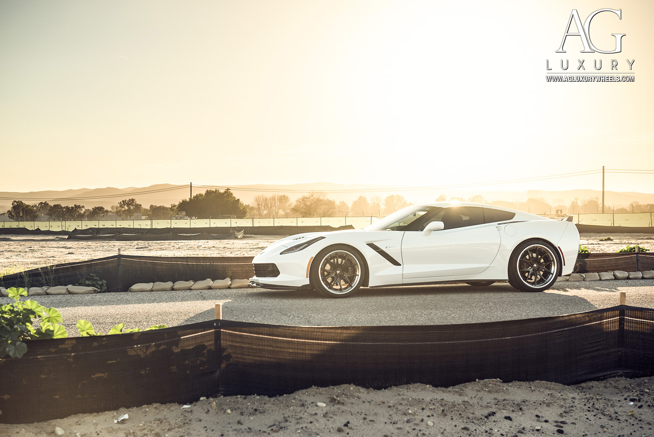 white chevrolet corvette c7 forged concave staggered step lip wheels