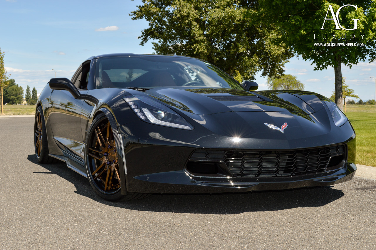 black chevrolet corvette c7 z51 forged staggered directional concave wheels