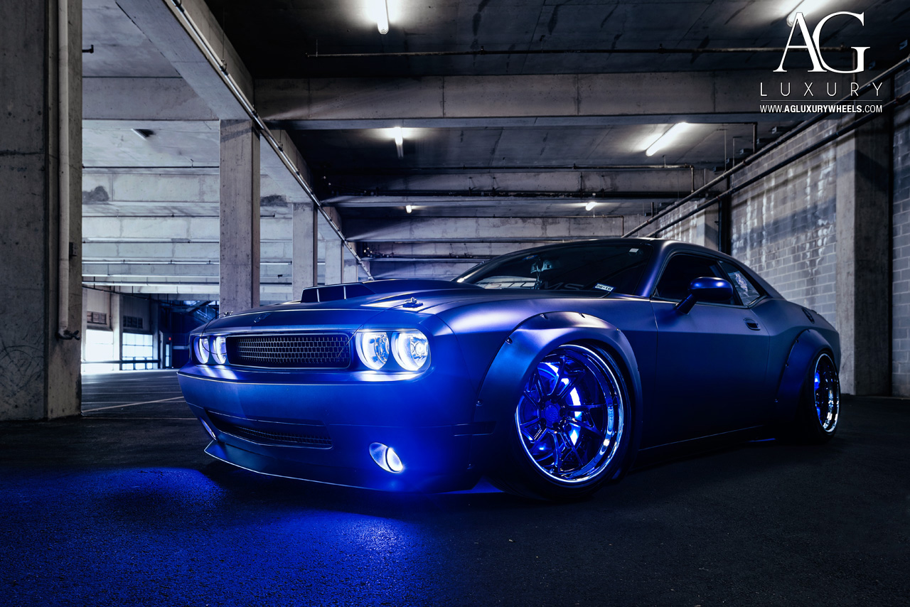matte blue dodge challenger forged concave staggered wheels liberty walk wide body