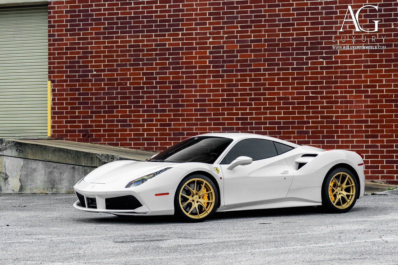 white ferrari 488 gtb forged monoblock concave gold wheels