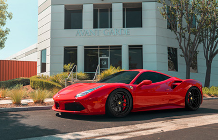 red ferrari 488 gtb 458 italia avant garde agwheels agluxury luxury rims wheel rim wheels agl42 spec3 five spoke split concave 21inch 22inch inch
