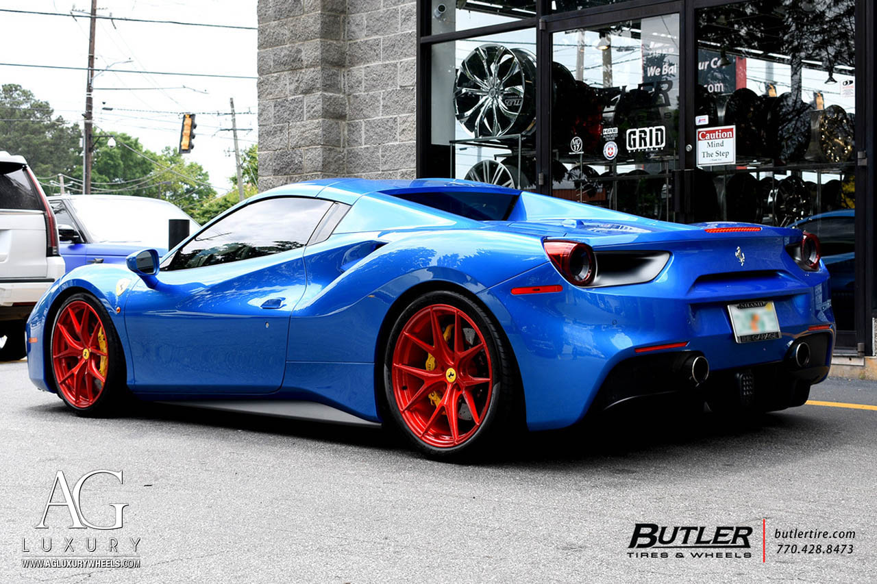 agluxury wheels agl23 monoblock brushed candy red custom concave forged one piece bespoke rims ferrari 488 spider gtb supercar exotic 21in vossen hre anrky forgiato vellano