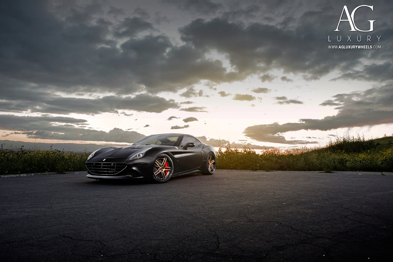 matte black ferrari california forged concave staggered bronze wheels