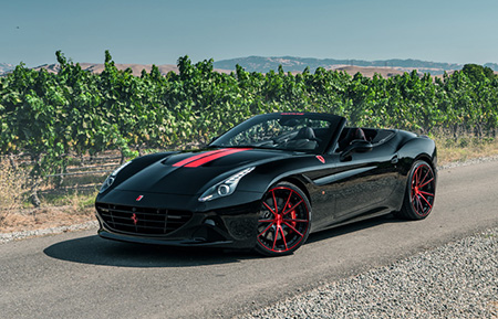 ferrari california custom forged wheels brushed candy apple red black accents agl19