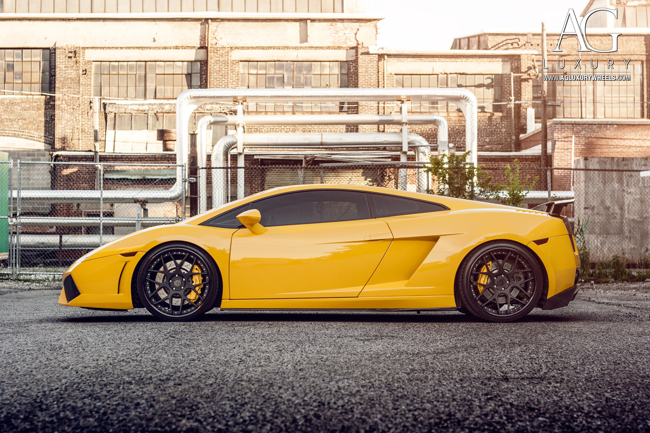 yellow lamborghini gallardo forged concave staggered black wheels