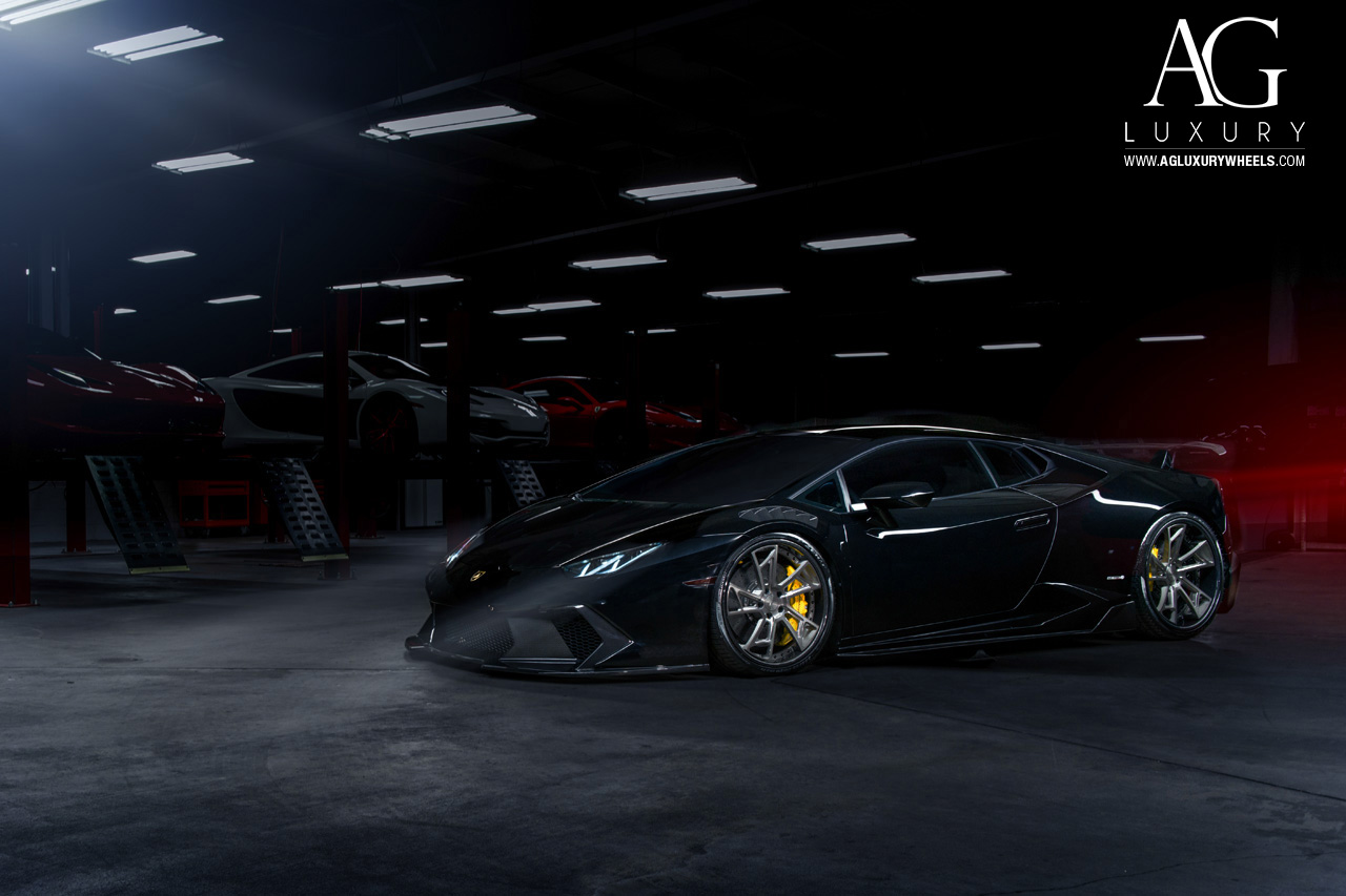 black lamborghini huracan forged concave staggered wheels brushed gunmetal