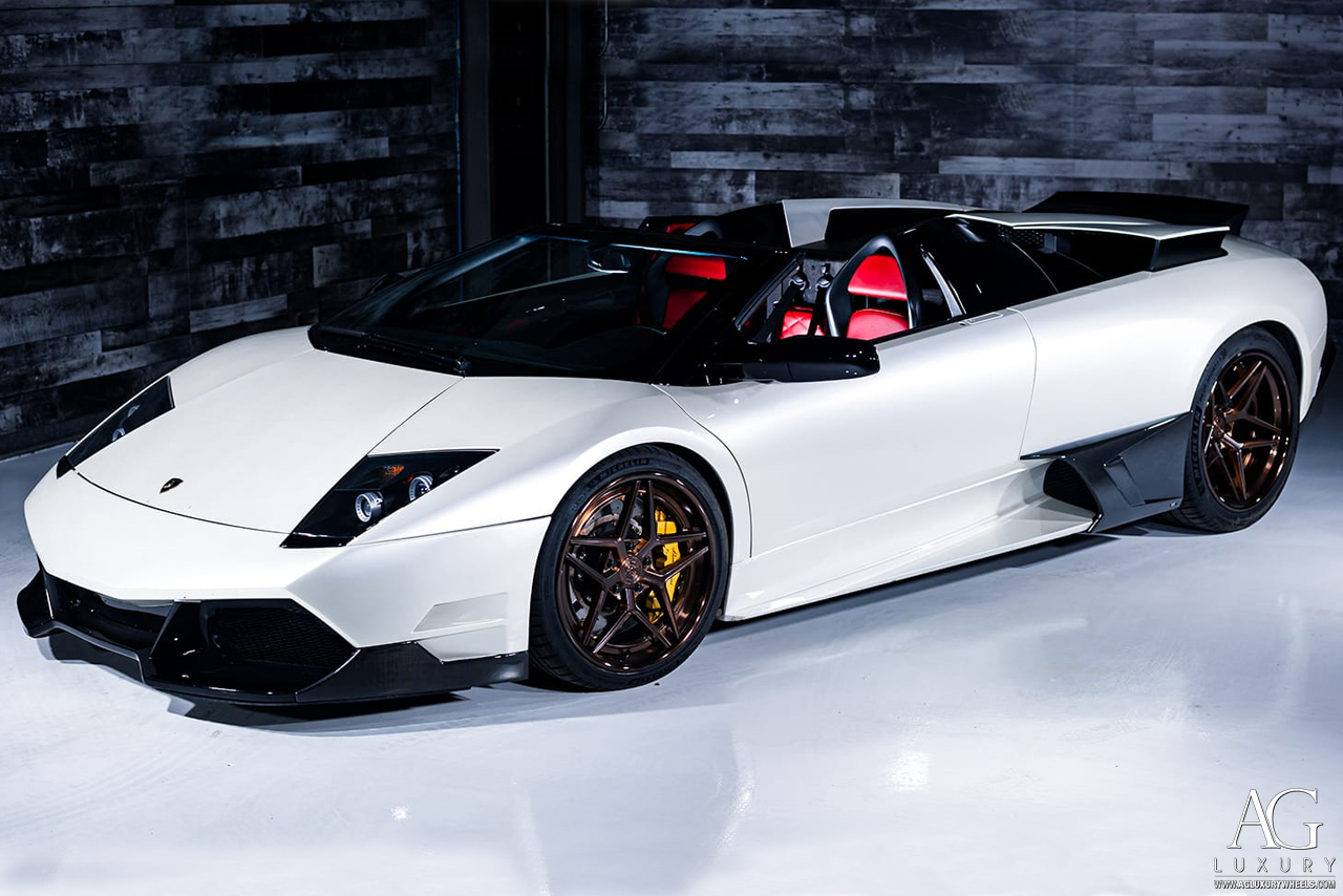 white lamborghini murcielago lp640 polished matte brushed man bronze monaco manbronze forged concave staggered wheels