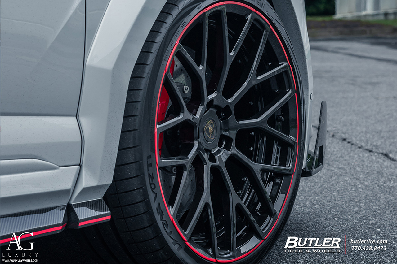agluxury wheels agl57 gloss black custom concave forged monoblock bespoke rims mesh multi spoke 24in staggered mansory lamborghini urus vossen forigato vellano rotiform anrky forgiato