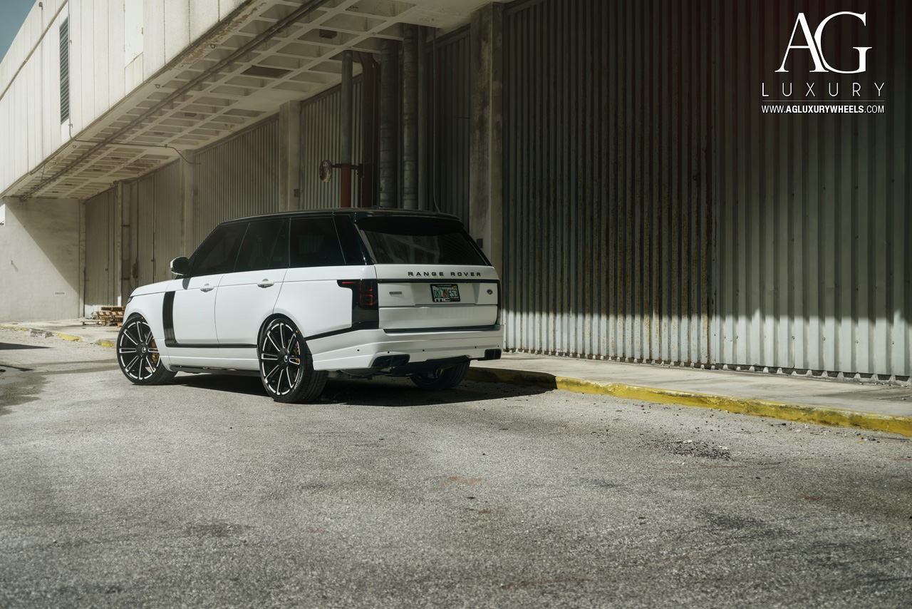 white range rover 24 inch forged concave monoblock two tone wheels