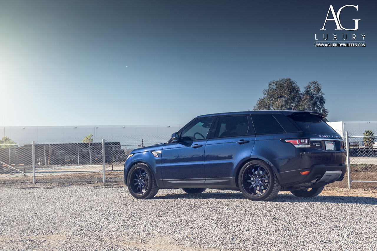 blue range rover sport 22 inch forged directional wheels