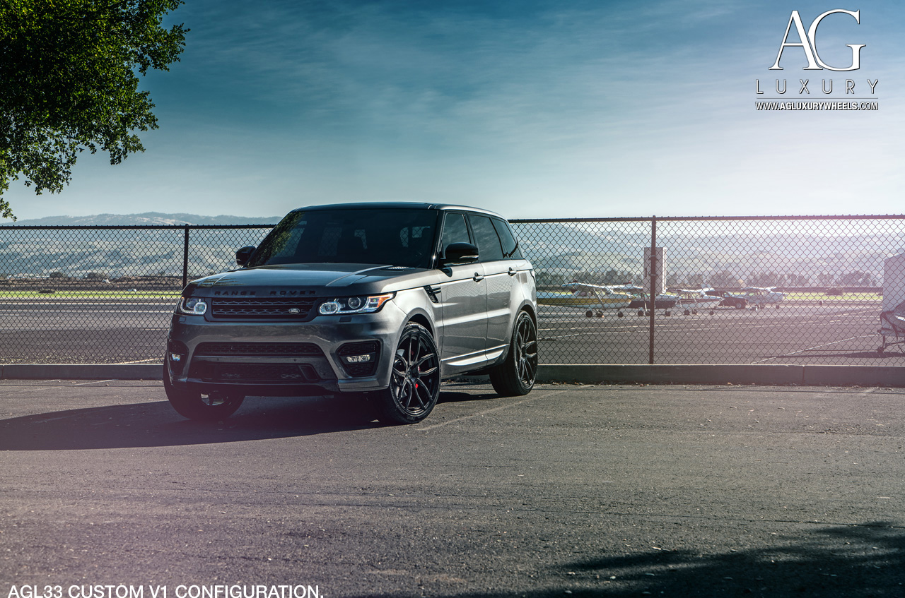 gray range rover sport forged monoblock concave black wheels