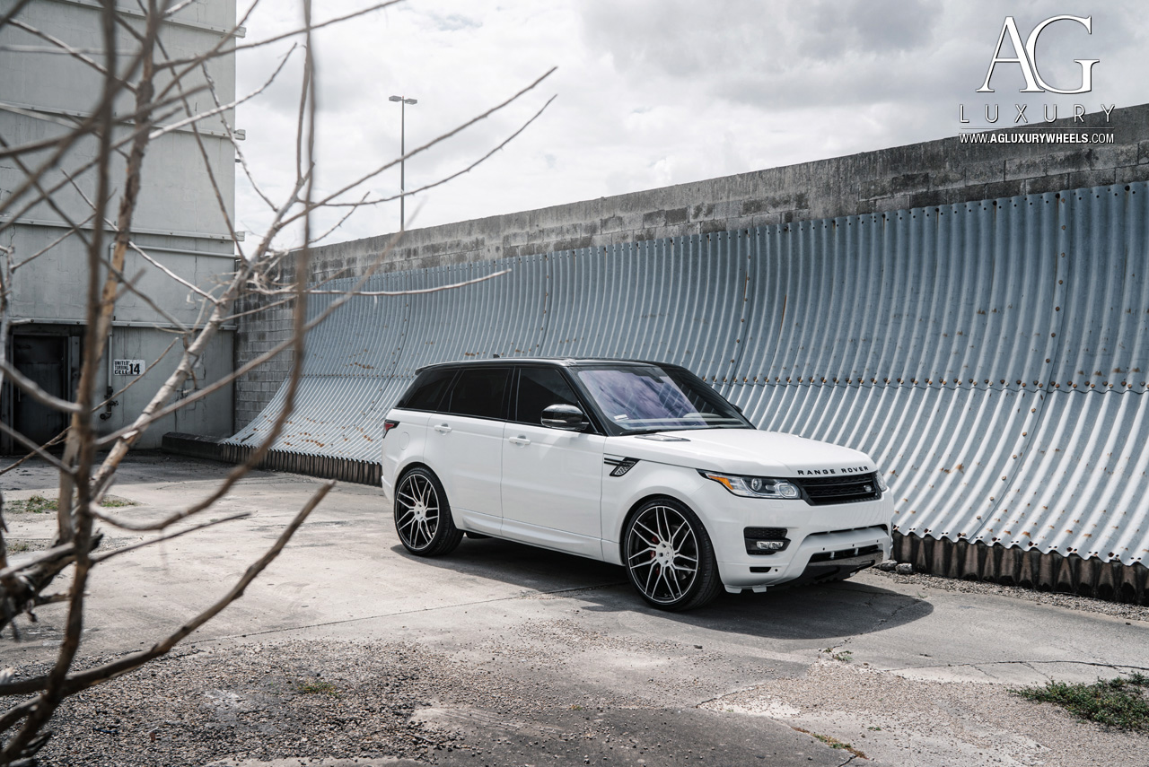 white range rover sport 24 inch forged monoblock ooncave two tone directional wheels