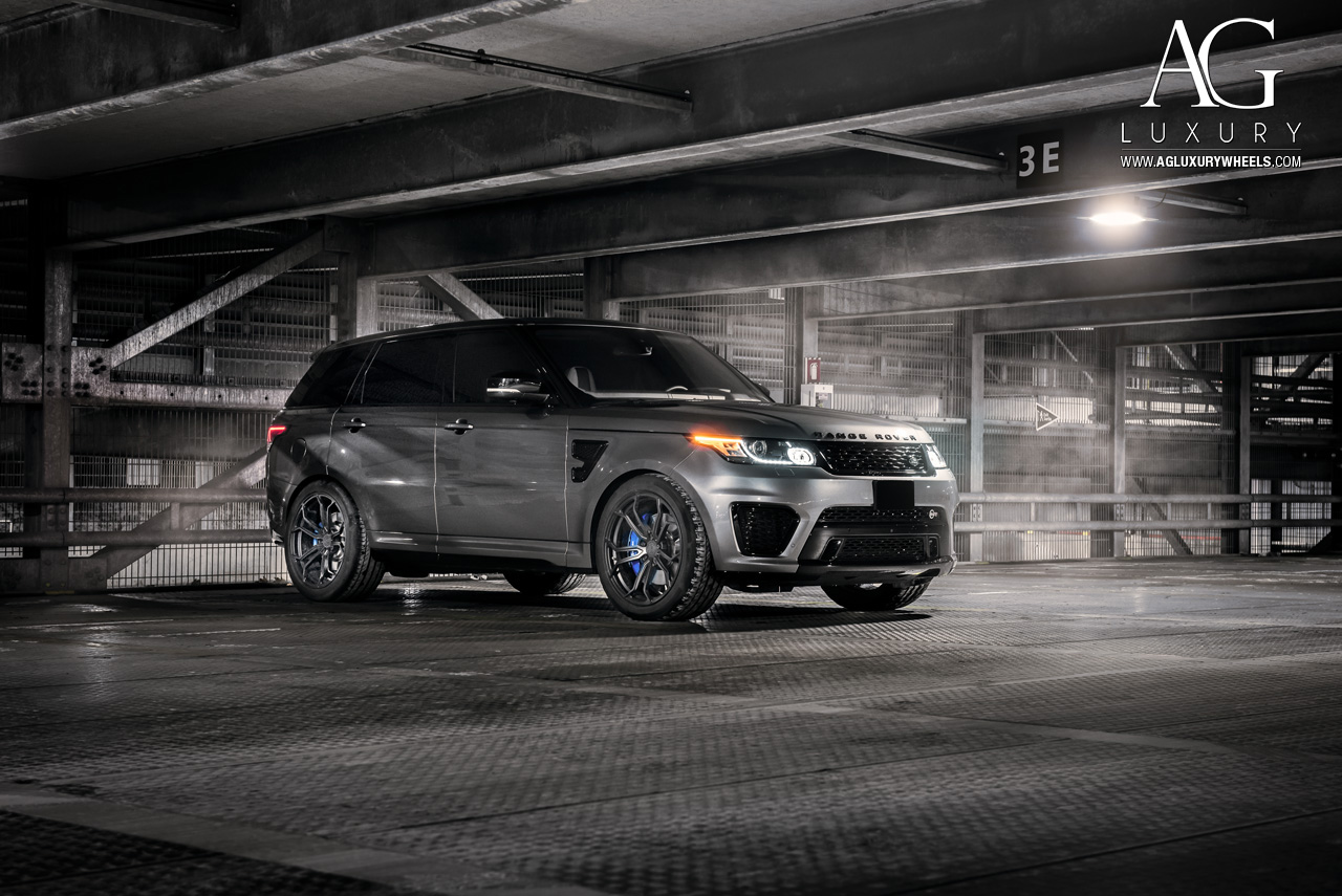 gray range rover sport svr 22 inch forged concave monoblock black wheels