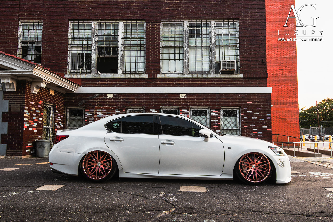 white lexus gs350 fsport forged concave staggered rose gold wheels air suspension