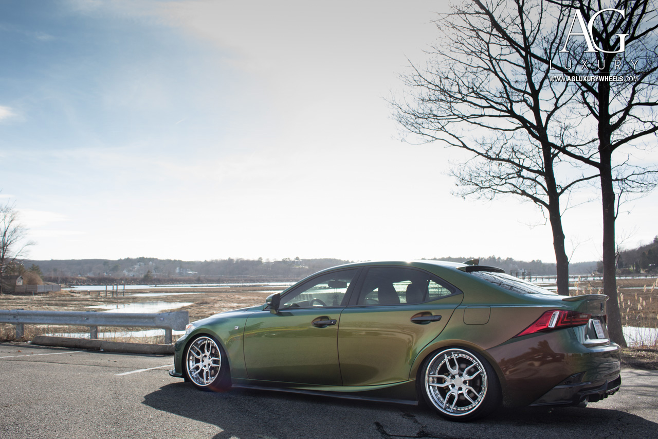 green lexus is250 forged staggered concave wheels brushed polished air suspension