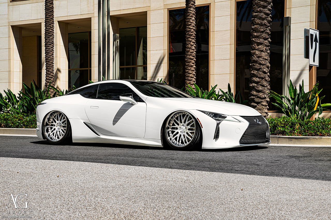 lexus lc500 agluxury agl10 3 piece forged gloss brushed chrome step lip rotiform velano hre vossen forge 3piece multipiece multi spoke  mesh