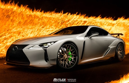white lexus lc500 artisan spirits widebody lip kit agluxury wheels agl43 spec3 carbon fiber lip brushed polished liquid bronze bespoke rims stance custom concave forged 21in 21inch forgiato hre vossen