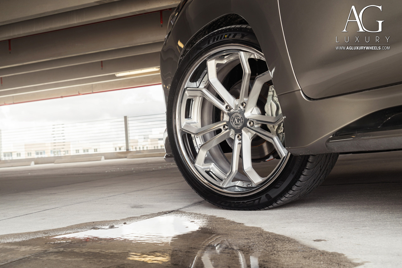 silver lexus lx 570 forged concave brushed wheels split five spoke