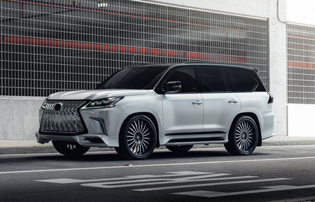 lexus lx570 24 inch forged gloss black colormatched white face multispoke luxury wheels