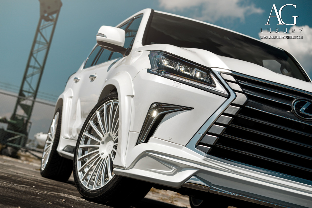 white lexus lx 570 forged monoblock concave wheels wald wide body kit