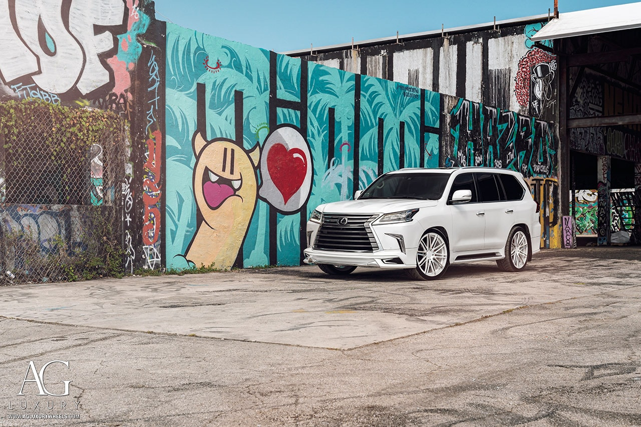 white lexus lx 570 wald body kit forged monoblock concave wheels mccustoms miami 2tone 24inch 24in polish agl12 custom