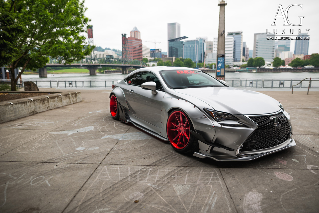 silver lexus rc350 fsport forged concave staggered red wheels rocket bunny wide body kit