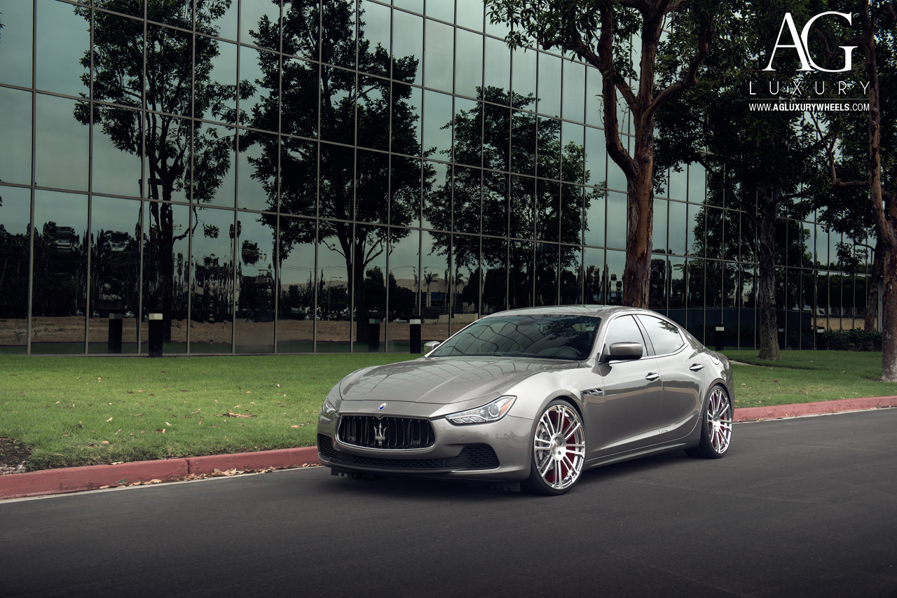 gray maserati ghibli forged monoblock concave staggered wheels brushed polished