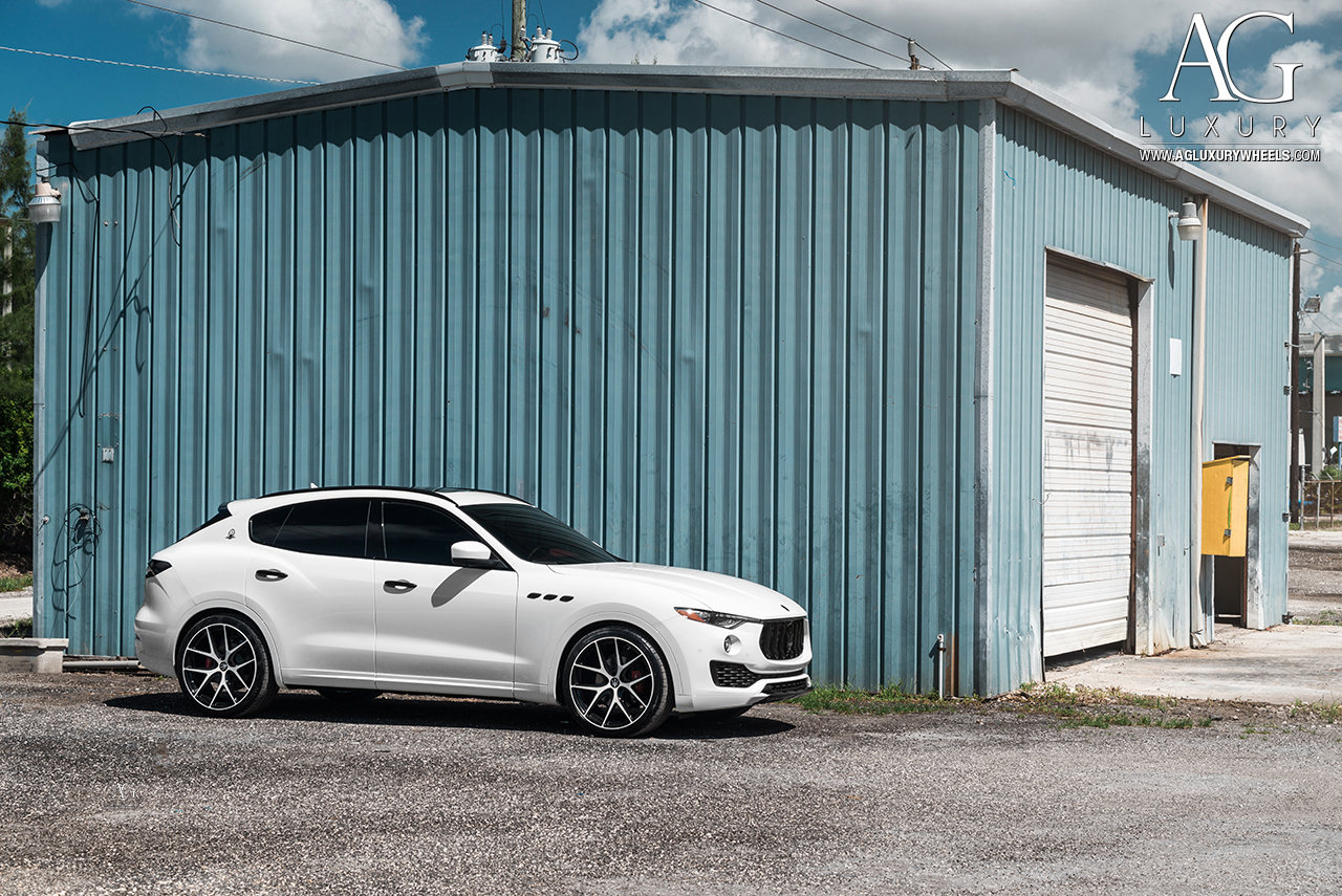 white maserati levante avant garde agwheels wheel wheels agluxury luxury agl23 forged forge monoblock five spoke split concave black two tone sport suv 22inch inch 22