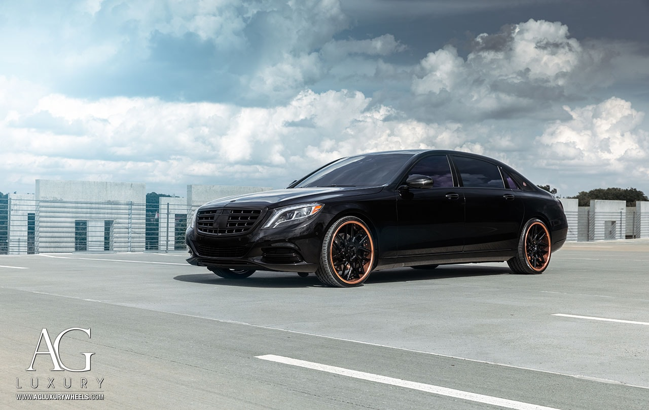 agluxury wheels agwheels agl35 spec2 mercedes-benz mercedes maybach s600 three piece forged custom rims rim gloss black face polished rose gold lip hardware 22inch 22s 22 directional atlanta