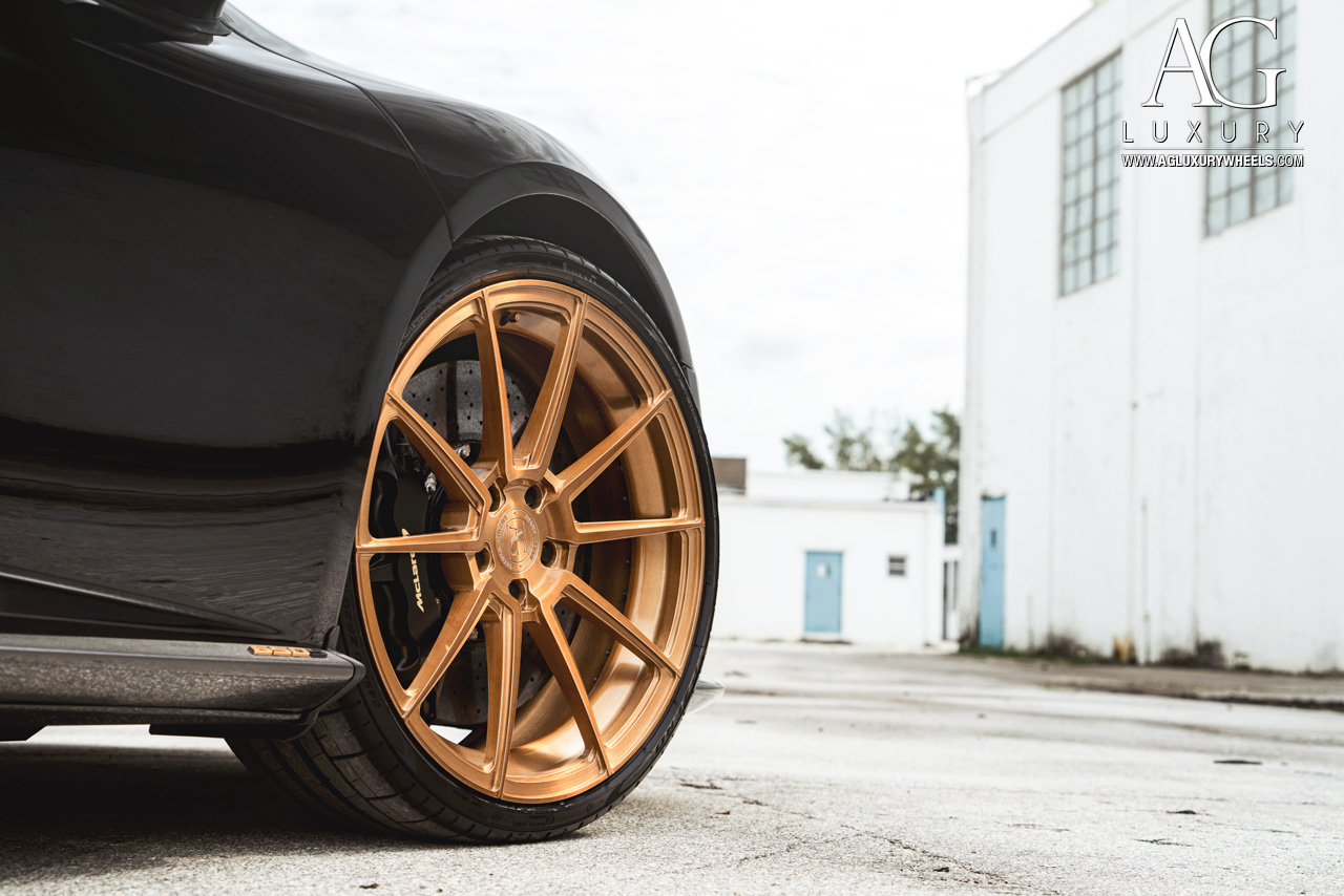 black mclaren 650s forged concave staggered copper wheels duo block