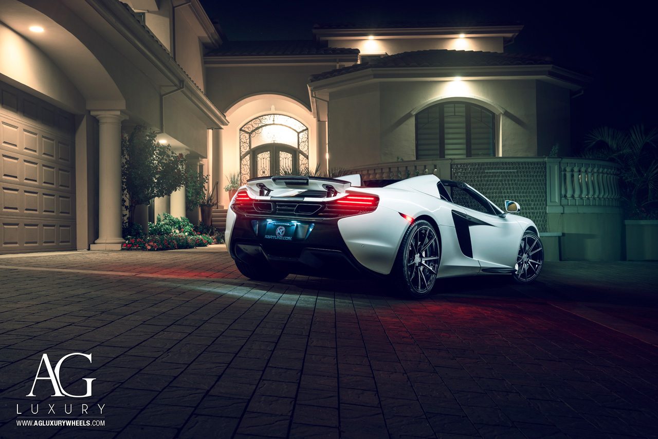 white mclaren 650s kartunz avant garde wheels luxury agluxury agwheels agl19 monoblock matte black forged concave 5spoke split five wheel rims rim