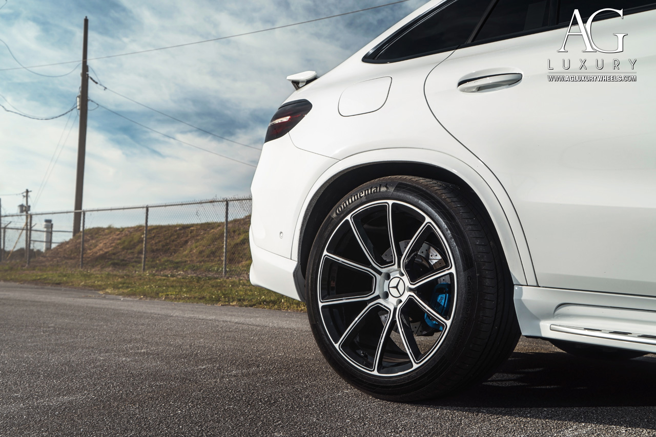 white mercedes benz gle gle63s amg forged monoblock concave two tone wheels