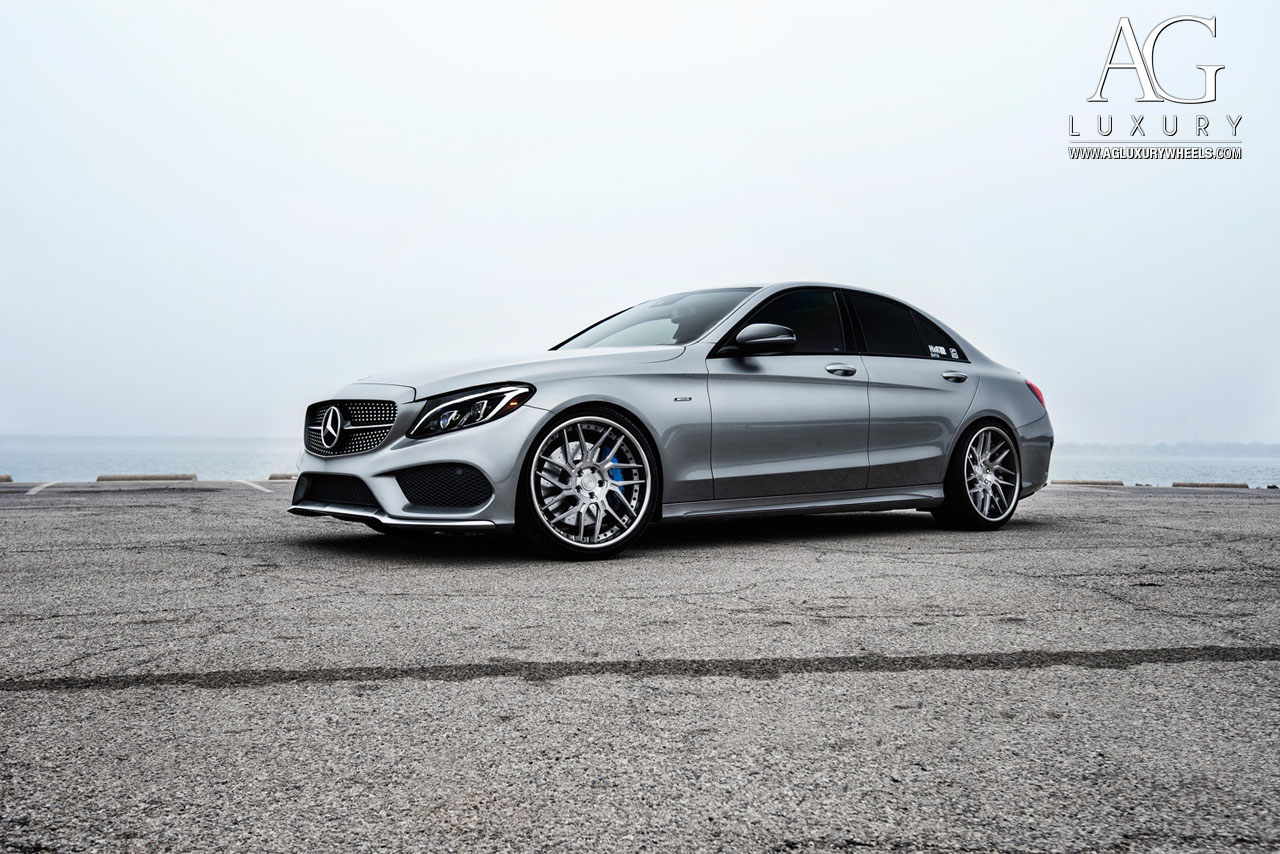 gray mercedes benz c450 amg forged directional staggered concave gunmetal wheels w205 c class