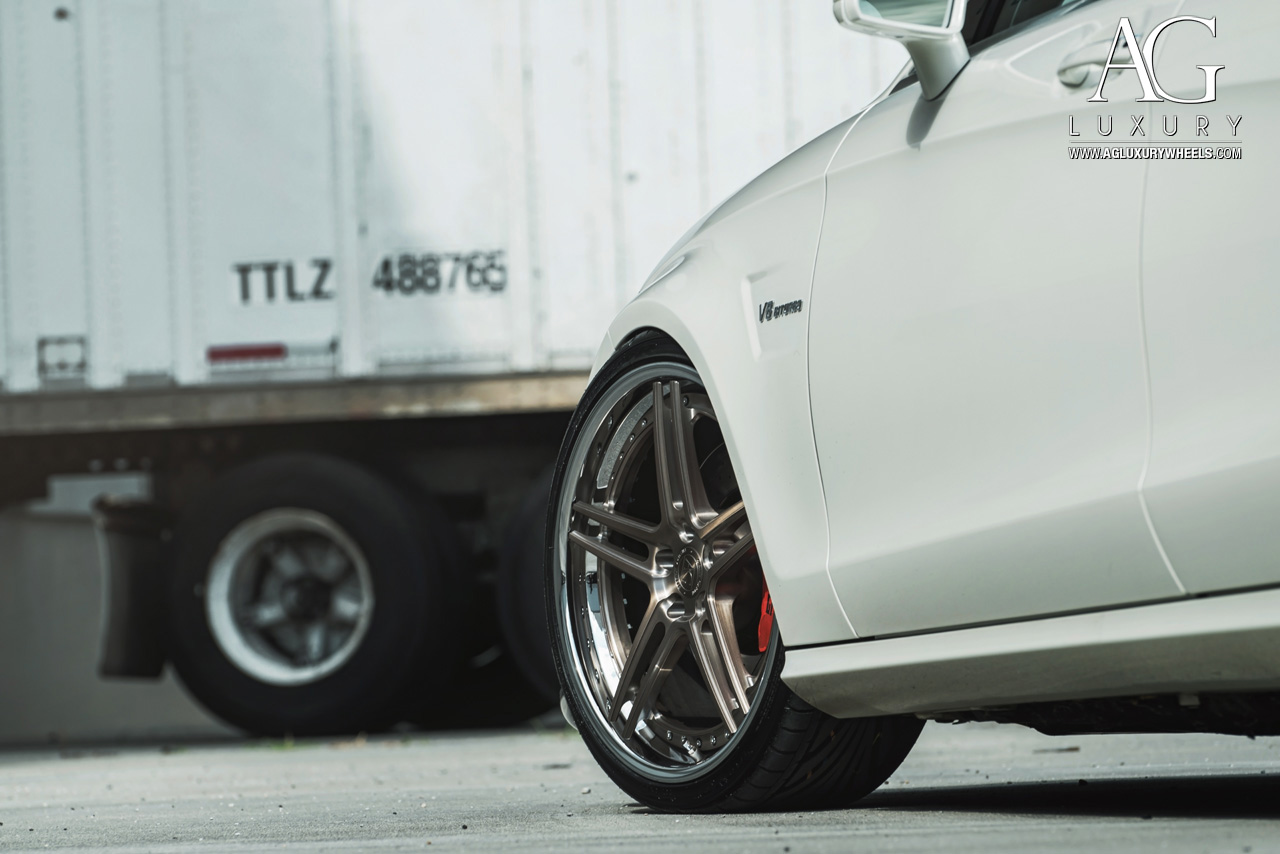 white mercedes benz cls 63 amg forged concave staggered wheels split five spoke w218 w219