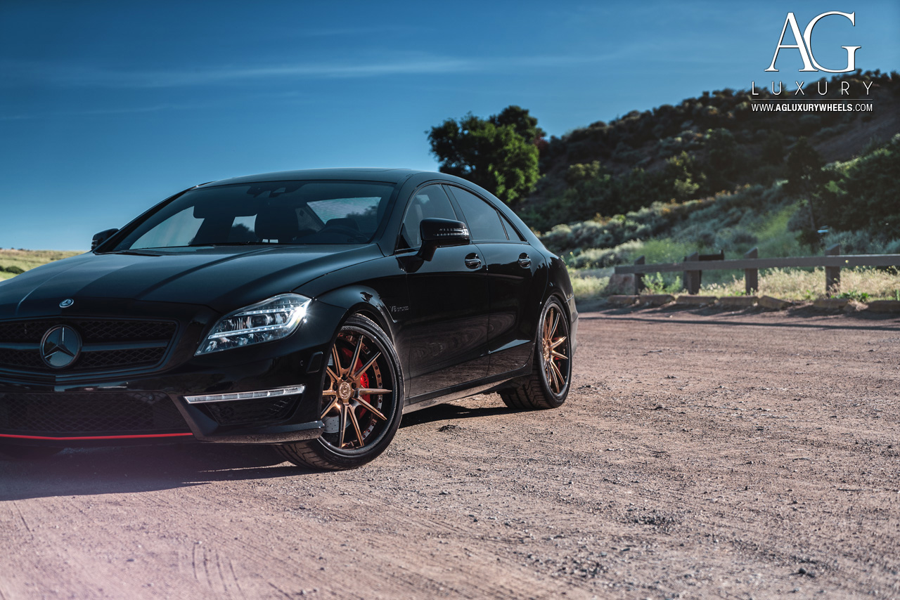 black mercedes benz cls 63 amg forged concave staggered bronze wheels carbon fiber lip w218 w219