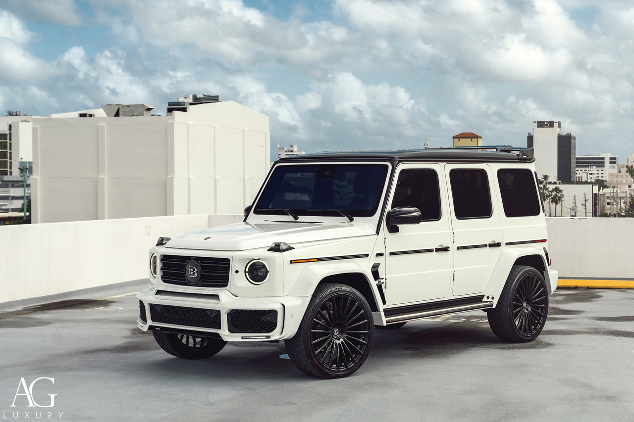 white 2019 mercedes-benz brabus g550 gwagen 24in 24inch agluxury wheels rims agl25 gloss black custom concave forged monoblock miami mccustoms multispoke
