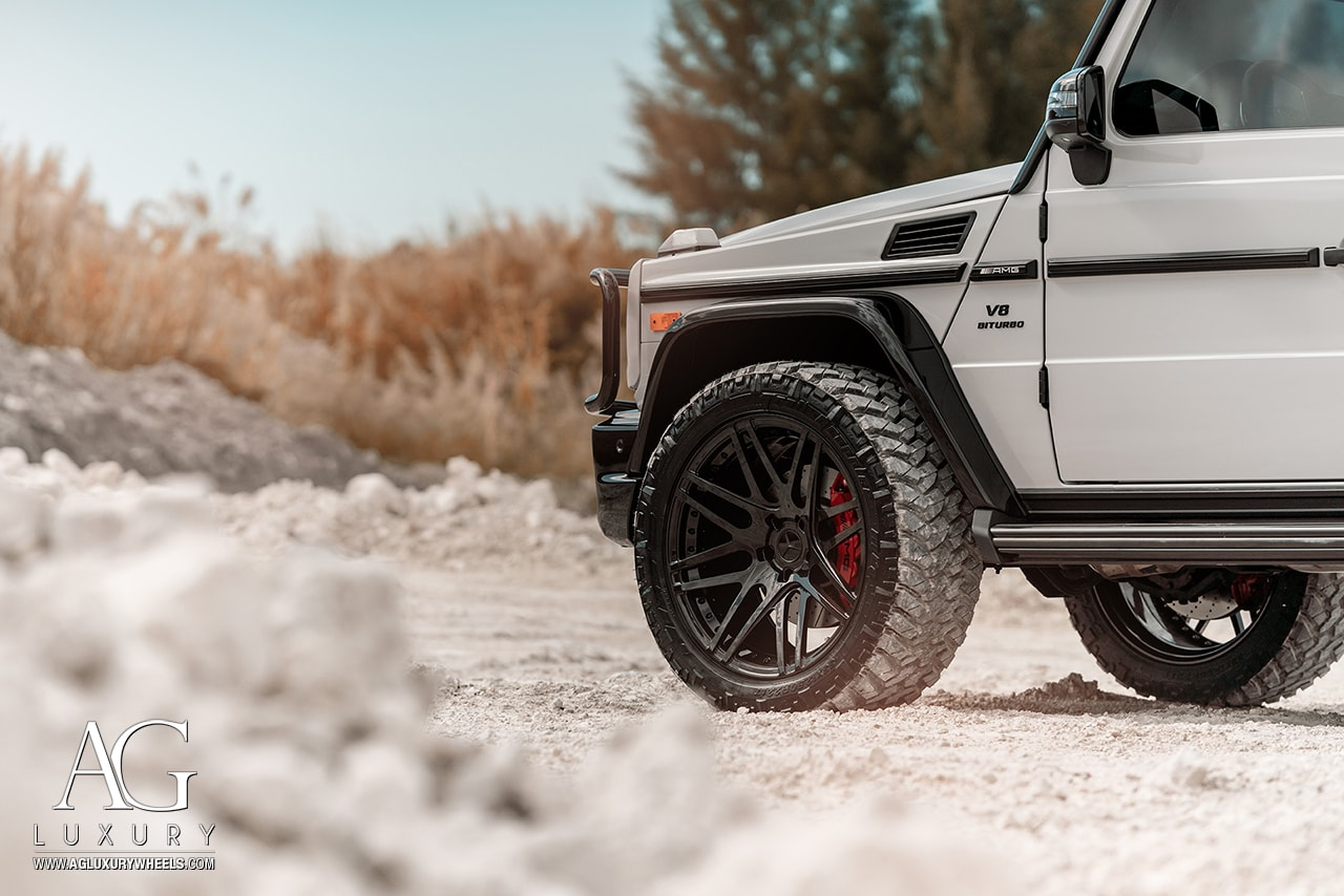 chalk gray mercedes benz forged concave wheels duoblock amg g63 offroad mccustoms miami rims nitto tire agl44 gloss black 22in 22inch